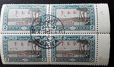 "TURKEY-1916-18 BLOCK OF 4 Overprinted ""T.E.O  Cilicie"" in Red.FRENCH Occupation."