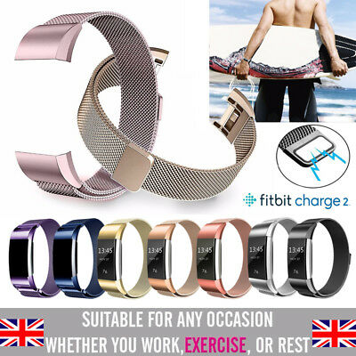 For Fitbit Charge 2 Magnetic Milanese Stainless Steel Watch Band Strap UK STOCK