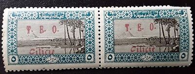 "TURKEY-1916-18 MINT PAIR Overprinted ""T.E.O  Cilicie"" in Red.FRENCH Occupation."