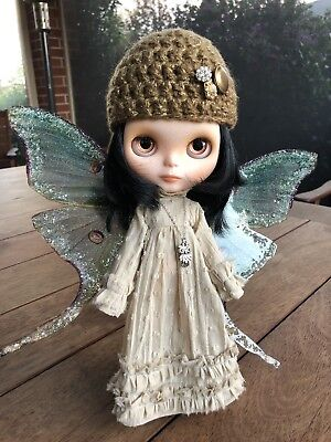 Custom Blythe, OOAK, lovely angel doll with wings, Tattoo Kitten Dolls Custom.