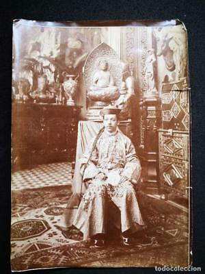 Antique Asian Original Photo Man Oriental China Japan Buddha Museum Chinese Rare