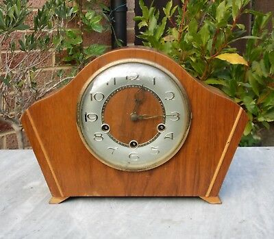 Vintage Smiths 8 Day Mantel Clock with Westminster Chimes - 1940s / 50s  and Key