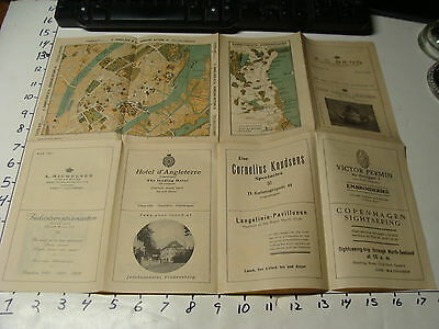 Vintage Travel Paper: BENNETT'S Travel Bureau MAP OF COPENHAGEN and ADS.  1920'S