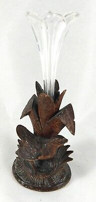 Antique Victorian Black Forest Carved bird  Wooden glass vase