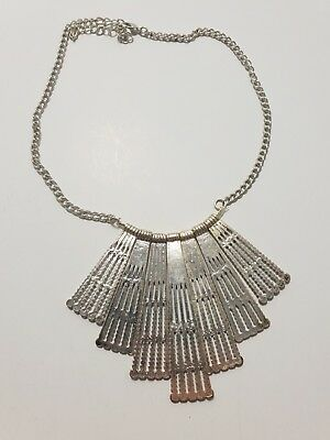 80s 90s VINTAGE STYLE SILVER TONE FRINGED CHOKER