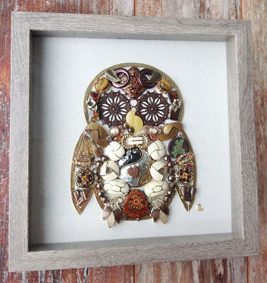 Framed Vintage Jewelry Art Baby Owl, Bird 10x10 Earth Tone Browns, Off-white