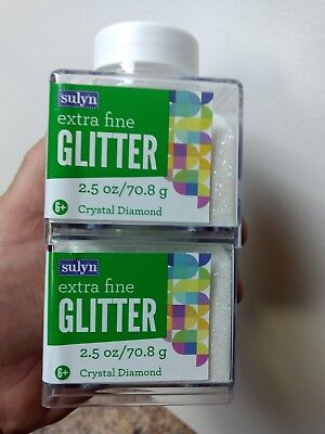 """Sulyn Extra Fine Glitter """"Crystal Diamond 2.5 oz LOT OF TWO (2) Free Shipping"""