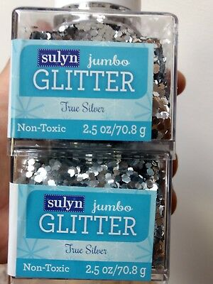"""Sulyn Jumbo True Silver Glitter 1/8"""" Size 2.5 oz LOT OF TWO (2) Free Shipping"""