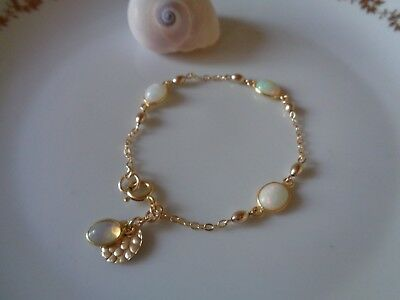 Gold Armband mit Opal, 585 Gold Filled