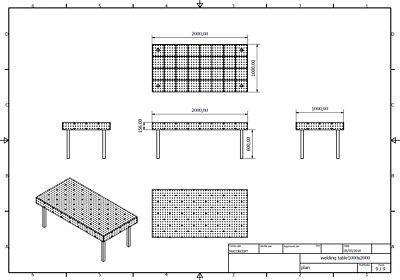 !PLAN! Table de soudure de soudage fixation fichier dxf 2000mm x 1000mm équerre