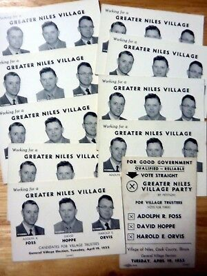lot of 10 original 1955 campaign cards glossy 3 village trustees Niles IL. ILL.