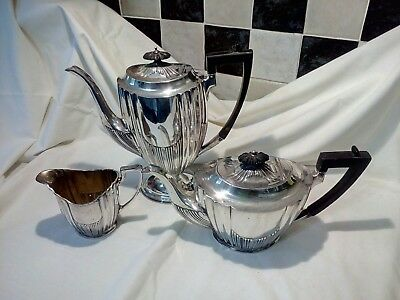 Silver Plated Art Deco trio Coffee pot Tea pot and Creamer