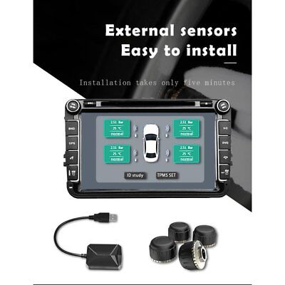 USB Car TPMS Android Tire Pressure Monitoring System with 4 External Sensors A8