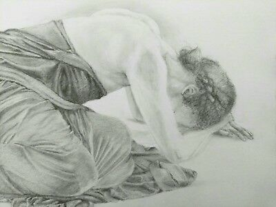 Female Nude Graphite Drawing Draped Figure Original Art A3 Realistic Crouched
