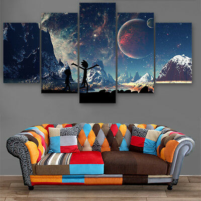 Framed Rick And Morty Outer Space Planets Canvas Prints Painting Wall Art 5PCS