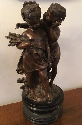 After August Moreau 20th Century French Bronze Figure Boy Girl Signed 50cm Tall