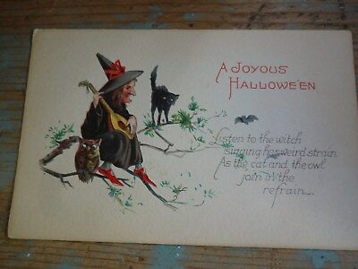 Vintage 1910 Witch with Mandolin, Cat & Owl Halloween Postcard by Gibson??