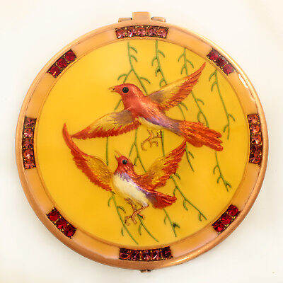 Bejeweled bird motif antique look compact mirror, enamel painted Copper/Yellow