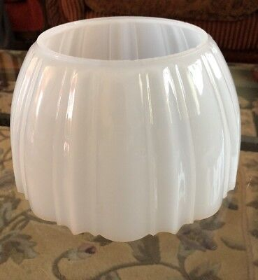 Antique White Frosted Pressed Glass Gas Shades