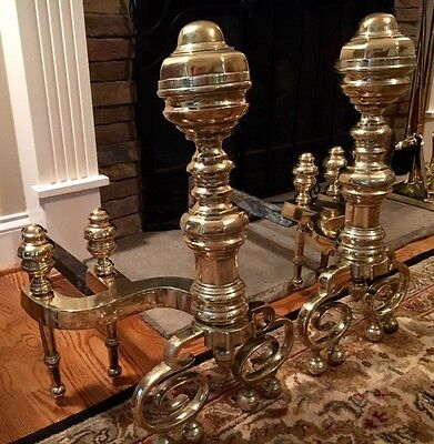 ANTIQUE AMERICAN FEDERAL BRASS ANDIRONS Early 19th Century