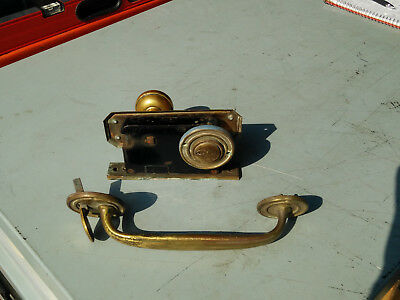 """Vintage Yale brass Mortise Lockset push button with 9"""" ext door handle working"""