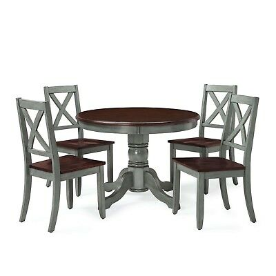 BLUE DINING SET KITCHEN TABLE CHAIRS VINTAGE RETRO RUSTIC FRENCH PEDESTAL Bistro