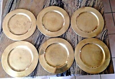 Vintage Set 6 India Solid Brass Round Serving Dinning 12-1/2'' Plates Chargers