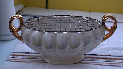 H J Wood Twin - Handled Oval Vase / Planter With Metal Flower Net  White  Lustre