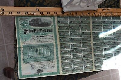 Central Pacific Railroad Bond $1000  Certificate With 60 Cupon Dted Year1885