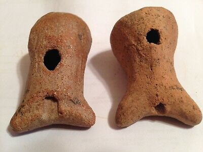 Pre-Columbian Pair Of Working Whistles/early/primitive/2000 Yrs. Old/ Provenance