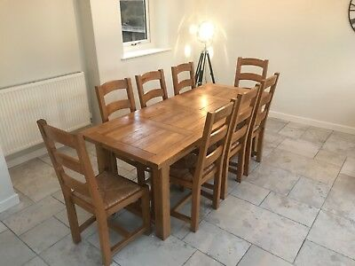 Tremendous 10 Seater Solid Oak Dining Table With 10 Chairs 6Ft 6 Long Ncnpc Chair Design For Home Ncnpcorg