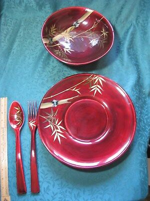 Vintage Asian Red/Gold Laquer Ware Serving Plate Salad Bowl Set w/Fork Spoon