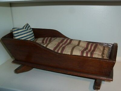 """Early Primitive Oak Doll Cradle Hand Stitched feather mattress & Pillow 16.5"""""""