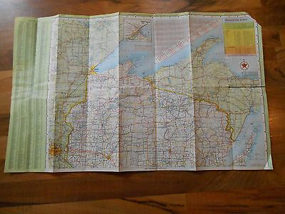 Old Vintage 1967 Road Map Wisconsin Texaco Randy McNally Wall Hanging Home Decor