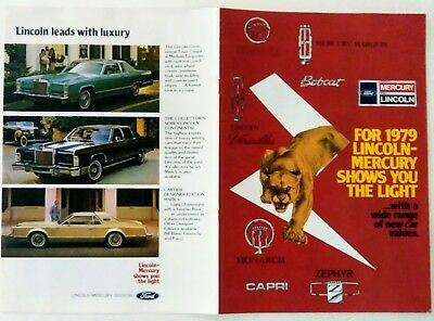 Original 1979 Lincoln and Mercury full line sales brochure color minty