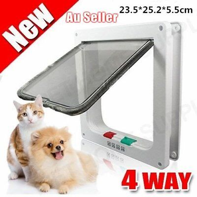 4 Way Locking Dog Cat Doggy Flap Safe Security Safety Door Gate White Safe F@ag