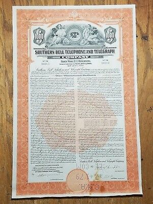 1939 Southern Bell Telephone & Telegraph Company Bond Certificate
