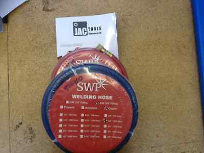 "Welding Hoses Oxygen And Acetylene Swp 10 Metre 3/8"" Fitting Bs En Iso 3821"