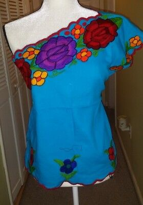 Blusa Chiapaneca Blouse Top Shirt Flowers Mexican Embroidered