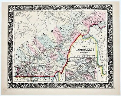 Montreal Map Of Canada.1860 Montreal Map Quebec Canada Railroads Counties Townships