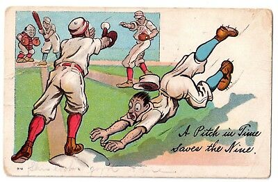 "Antique 1910 BASEBALL Postcard ""A Pitch in Time Saves the Nine"""
