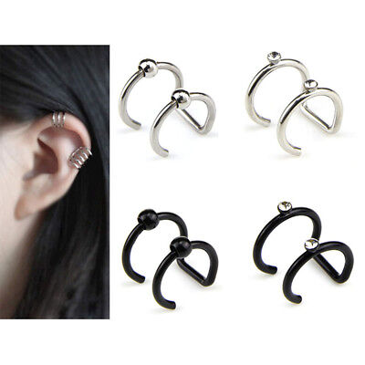Crystal Non-Piercing Clip On Ear Stud Cuff Wrap Hoop Earrings Cartilage Gift FBH