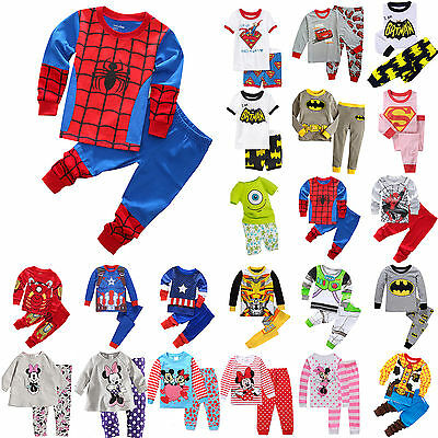 Kids Boy Girl Cartoon Sleepwear Outfit Baby Pajamas Set Sleepwear Nightwear US