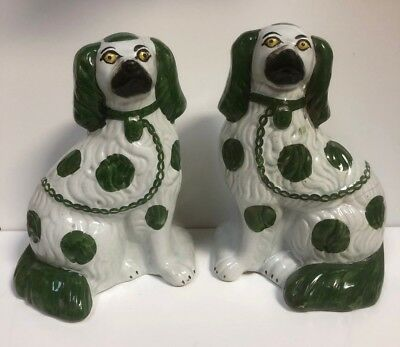 A Pair Of 19th Century Staffordshire Dogs Pottery Fireside Spaniels