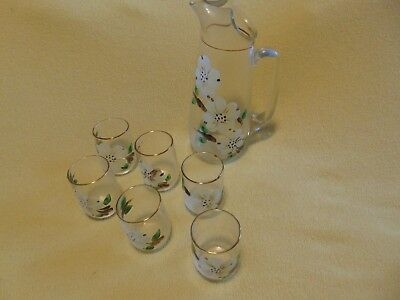 Vintage Glass Juice Pitcher Hand Painted Annuals Flowers with 6 Juice Glasses