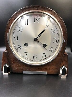 Vintage Haller Wooden Chiming Art Deco Mantel Clock with Key