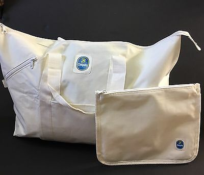 Vintage CHIQUITA BANANA Logo Large White Duffel Gym Bag Zipper Storage Case