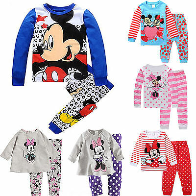 US Baby Kids Boys Girls Mickey Minnie Mouse Sleepwear Nightwear Pajamas Set 2pcs