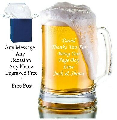 Personalised Engraved Beer Glass Tankard FREE Gift Engraving Any Occasion Comes