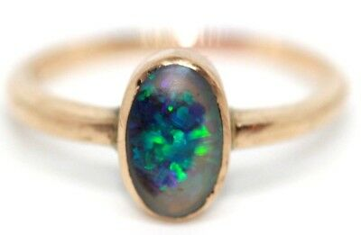 Antique Victorian 9 ct rose gold and black and white opal ring size N